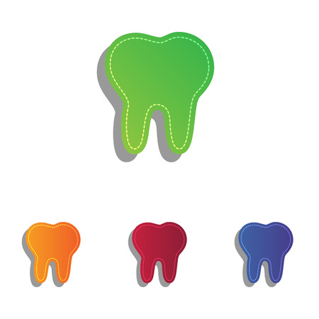 mouth pain: Tooth sign illustration. Colorfull applique icons set.