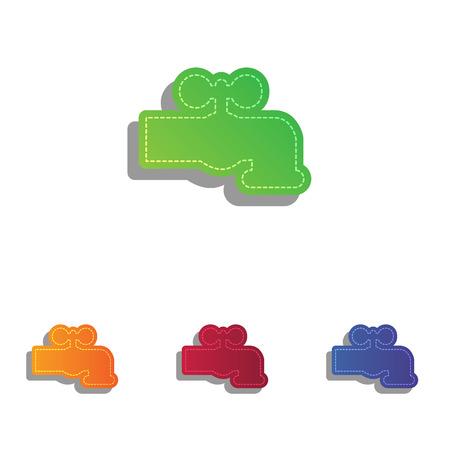 spew: Water faucet sign illustration. Colorfull applique icons set. Illustration