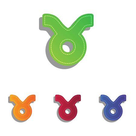 ecliptic: Taurus sign illustration. Colorfull applique icons set.