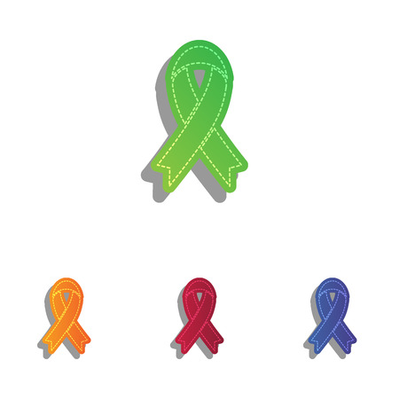 pattern: Black awareness ribbon sign. Colorfull applique icons set. Illustration