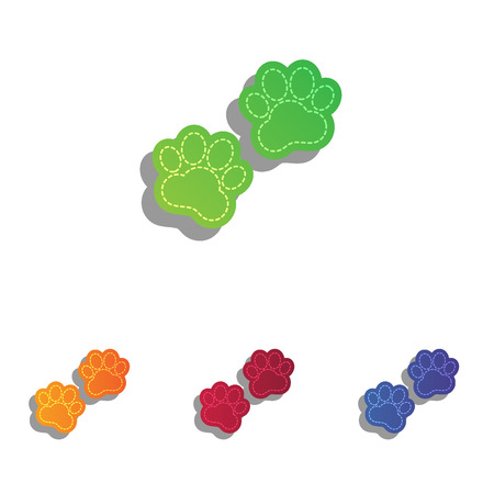 animal tracks: Animal Tracks sign. Colorfull applique icons set.