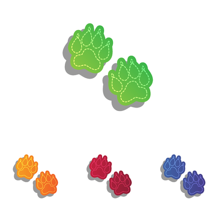 huellas de animales: Pistas animales firman. Iconos apliques de colorido.