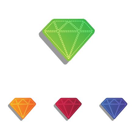 spoil: Diamond sign illustration. Colorfull applique icons set.