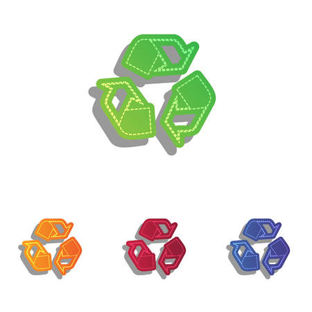 recycle logo: Recycle logo concept. Colorfull applique icons set.