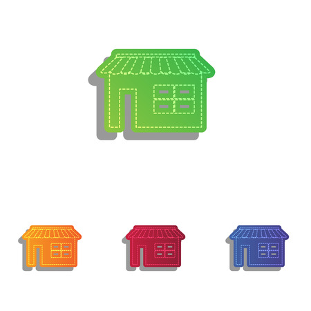 outdoor goods: Store sign illustration. Colorfull applique icons set.