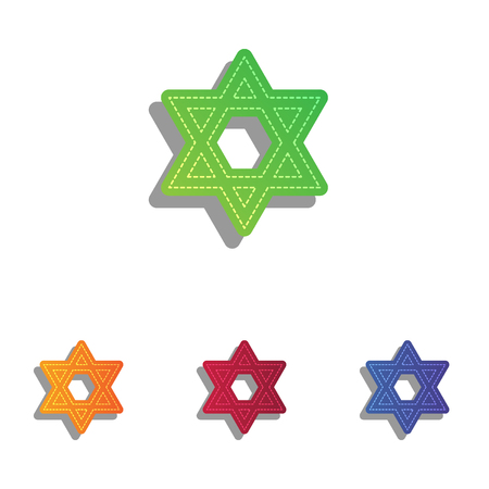 magen: Shield Magen David Star. Symbol of Israel. Colorfull applique icons set.