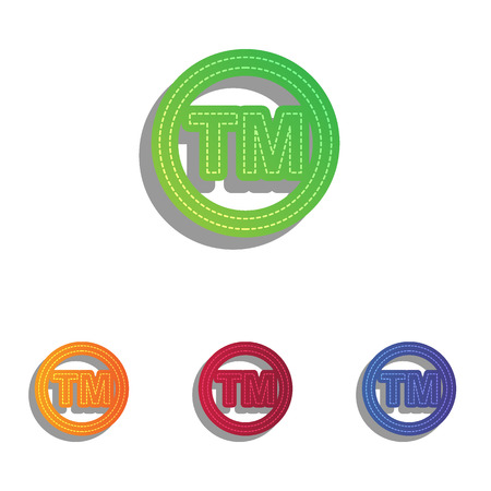 trade mark: Trade mark sign. Colorfull applique icons set. Illustration