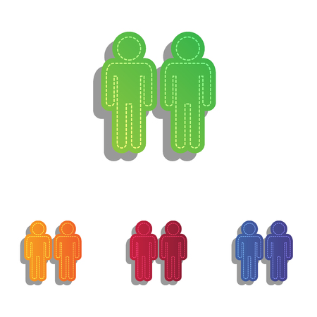 gay family: Gay family sign. Colorfull applique icons set. Illustration
