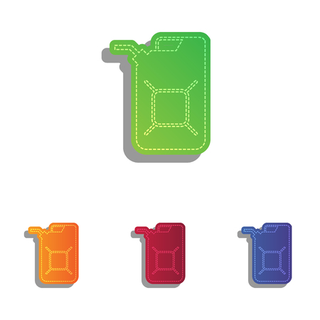 jerry: Jerrycan oil sign. Jerry can oil sign. Colorfull applique icons set.