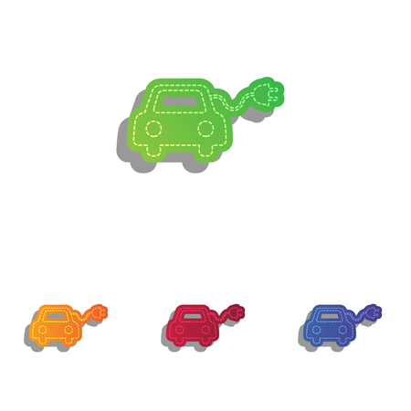echnology: Eco electric car sign. Colorfull applique icons set. Illustration