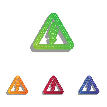 voltage danger: High voltage danger sign. Colorfull applique icons set.