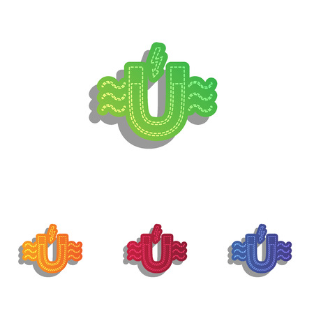 magnetic: Magnet with magnetic force indication. Colorfull applique icons set. Illustration