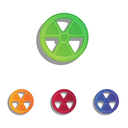radiological: Radiation Round sign. Colorfull applique icons set.