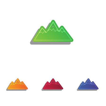 winter range: Mountain sign illustration. Colorfull applique icons set. Illustration