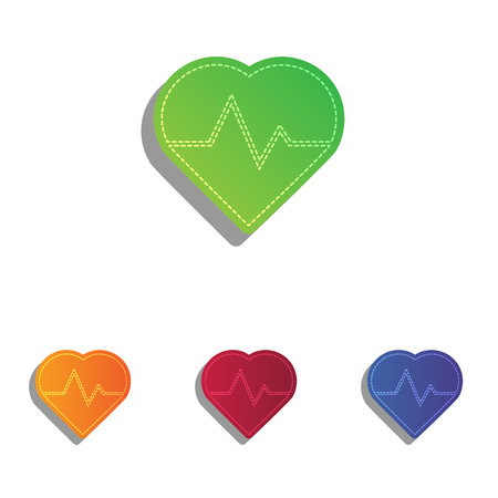 pulsating: Heartbeat sign illustration. Colorfull applique icons set.