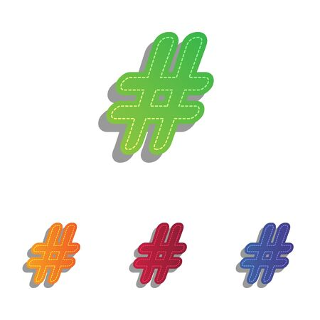Hashtag sign illustration. Colorfull applique icons set.