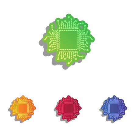 microprocessor: CPU Microprocessor illustration. Colorfull applique icons set.