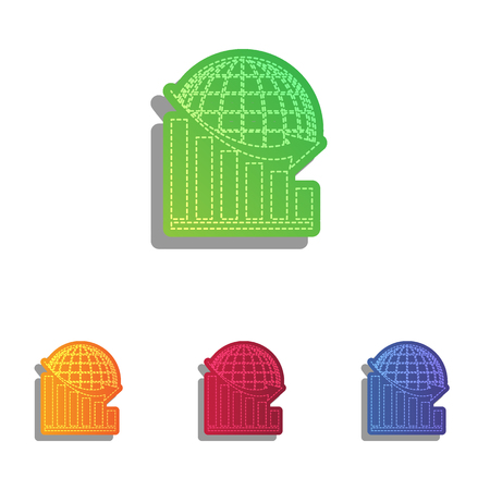declining: Declining graph with earth. Colorfull applique icons set.