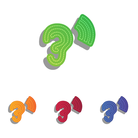 the human ear: Human ear sign. Colorfull applique icons set. Illustration