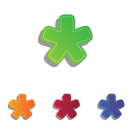 reference point: Asterisk star sign. Colorfull applique icons set.