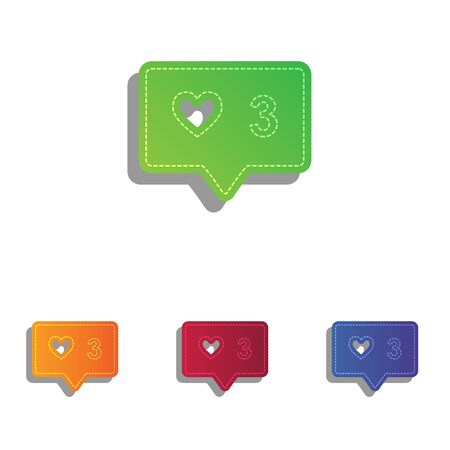 feedback link: Like and comment sign. Colorfull applique icons set.