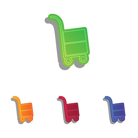 hand truck: Hand truck sign. Colorfull applique icons set. Illustration