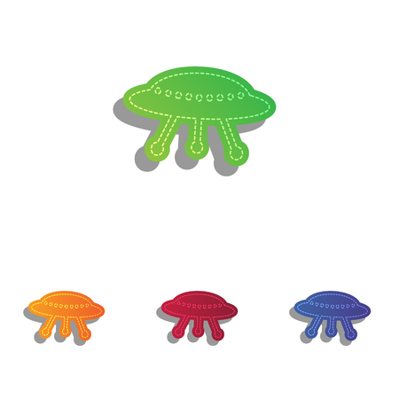 area 51: UFO simple sign. Colorfull applique icons set.