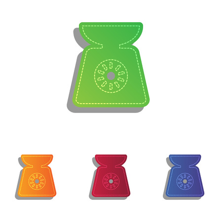 ounce: Kitchen scales sign. Colorfull applique icons set.