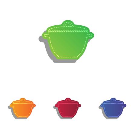 saucepan: Saucepan simple sign. Colorfull applique icons set. Illustration