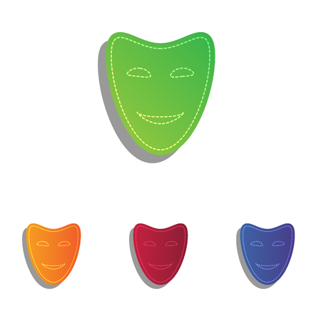 comedy: Comedy theatrical masks. Colorfull applique icons set. Illustration