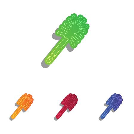 toilet brush: Toilet brush doodle. Colorfull applique icons set.