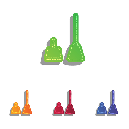 housework: Dustpan vector sign. Scoop for cleaning garbage housework dustpan equipment. Colorfull applique icons set. Illustration