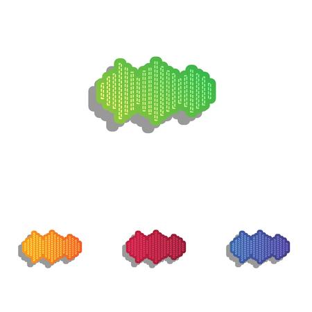 Sound waves icon. Colorfull applique icons set. Illustration