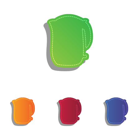 electric kettle: Electric kettle sign. Colorfull applique icons set.
