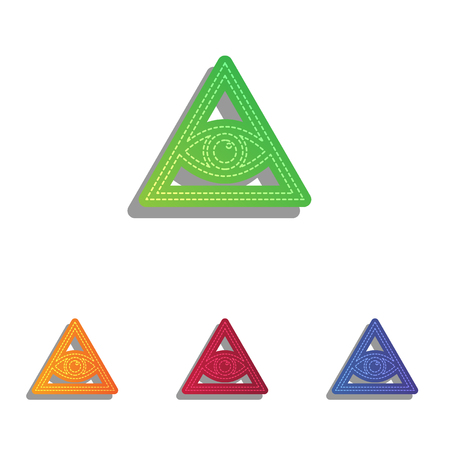 new world order: All seeing eye pyramid symbol. Freemason and spiritual. Colorfull applique icons set. Illustration