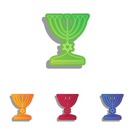 menora: Jewish Menorah candlestick in black silhouette. Colorfull applique icons set. Illustration