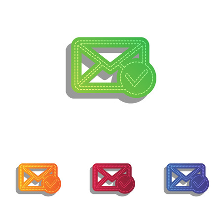 allow: Mail sign illustration with allow mark. Colorfull applique icons set.