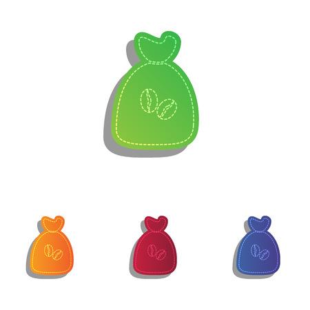 coffee bag: Coffee bag Icon. Coffee bag Vector. Coffee bag Icon Button. Colorfull applique icons set.