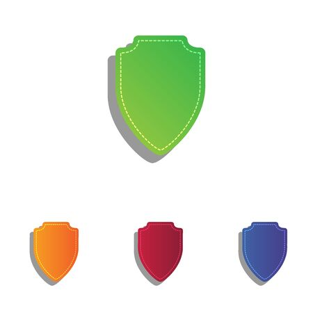 honor guard: Shield sign illustration. Colorfull applique icons set.