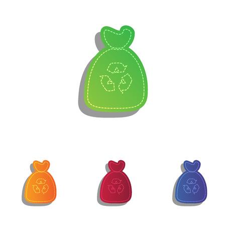 plastic wrap: Trash bag icon. Colorfull applique icons set.