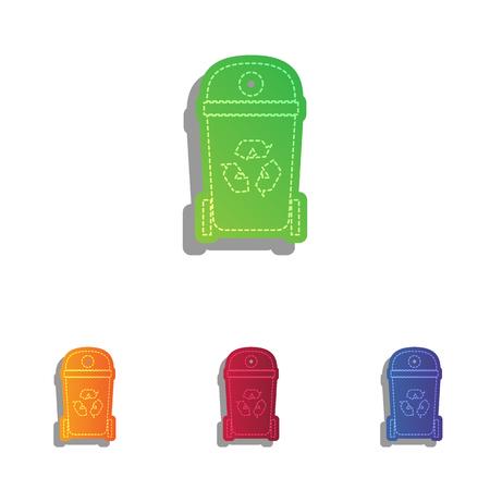trashing: Trashcan sign illustration. Colorfull applique icons set.