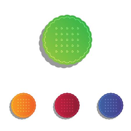 scone: Pyramid sign illustration. Colorfull applique icons set.