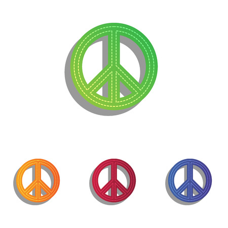 pacificist: Peace sign illustration. Colorfull applique icons set. Illustration