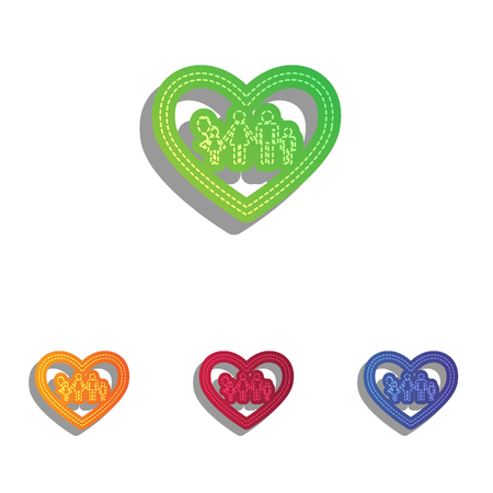 siloette: Family sign illustration in heart shape. Colorfull applique icons set.