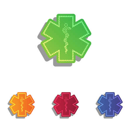 star of life: Medical symbol of the Emergency - Star of Life. Colorfull applique icons set.