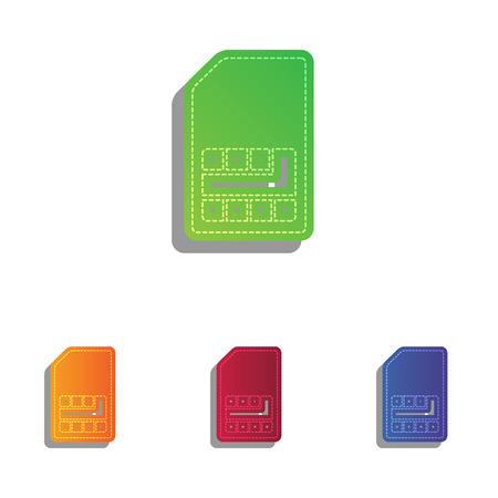 sim card: Sim card sign. Colorfull applique icons set.