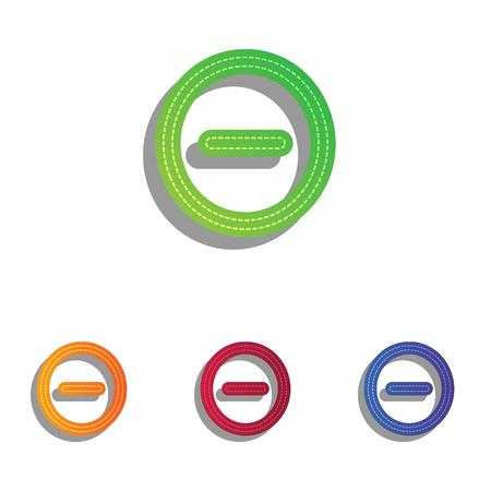 minus: Negative symbol illustration. Minus sign. Colorfull applique icons set.