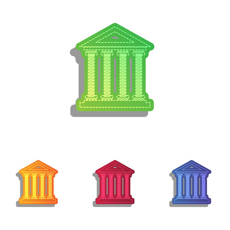 historical: Historical building illustration. Colorfull applique icons set.