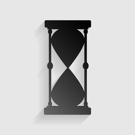 metering: Hourglass sign illustration. Black paper with shadow on gray background.