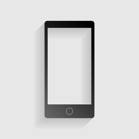Abstract style modern gadget with blank screen. Template for any content. Black paper with shadow on gray background.